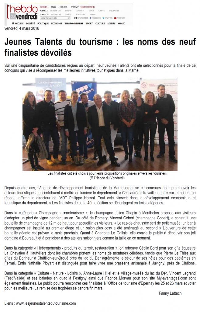 L'Hebdo du Vendredi du 4 mars 2016